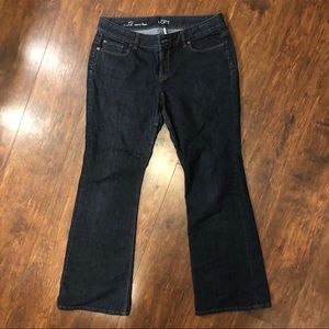 LOFT Dark Wash Curvy Flare Jeans B41